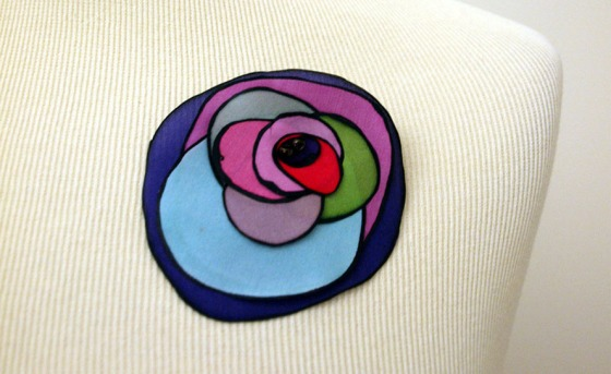 Handpainted silk brooch